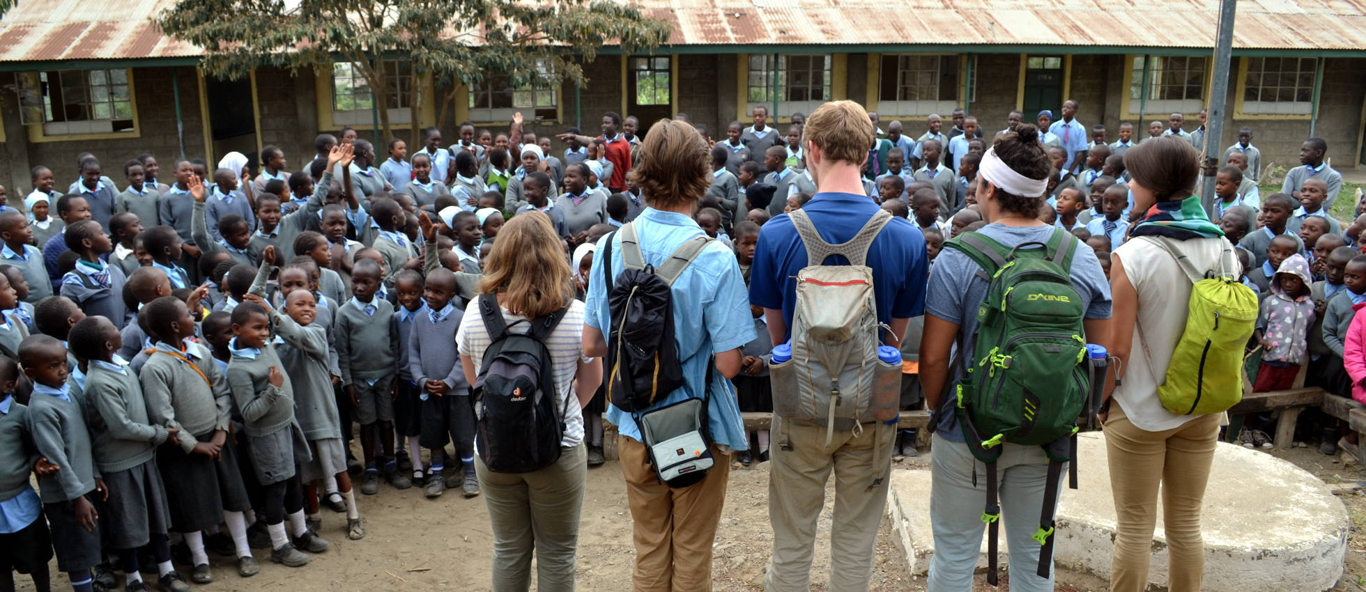 Students in front of African Village