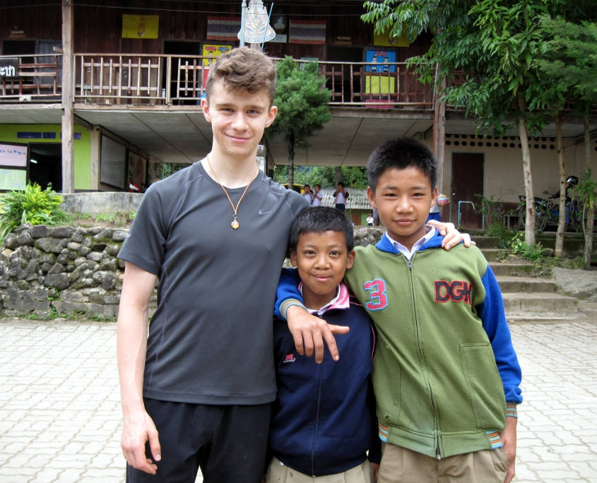 Thailand Hill Tribe Experience - High School Boy with Local Students